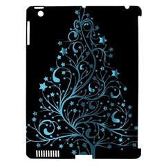 Elegant Blue Christmas Tree Black Background Apple Ipad 3/4 Hardshell Case (compatible With Smart Cover) by yoursparklingshop