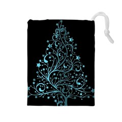 Elegant Blue Christmas Tree Black Background Drawstring Pouches (large)