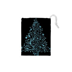 Elegant Blue Christmas Tree Black Background Drawstring Pouches (xs)  by yoursparklingshop