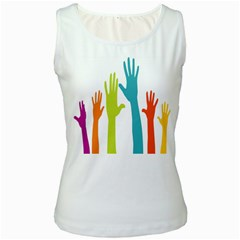 Hand Coloor Women s White Tank Top by AnjaniArt