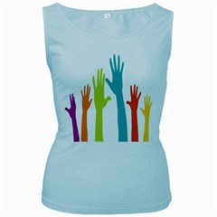 Hand Coloor Women s Baby Blue Tank Top by AnjaniArt