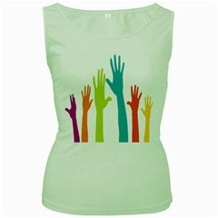 Hand Coloor Women s Green Tank Top by AnjaniArt