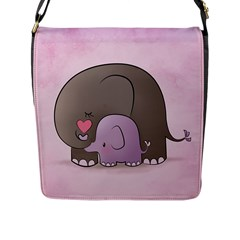 Cute Elephant Flap Messenger Bag (l)  by AnjaniArt