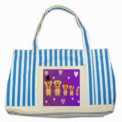 Happy Bears Cute Striped Blue Tote Bag by AnjaniArt