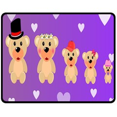 Happy Bears Cute Double Sided Fleece Blanket (medium)  by AnjaniArt