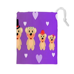 Happy Bears Cute Drawstring Pouches (large)