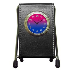 Pink Blue Purple Pen Holder Desk Clocks by AnjaniArt