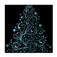 Elegant Blue Christmas Tree Black Background Tile Coasters by yoursparklingshop