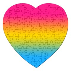 Pink Orange Green Blue Jigsaw Puzzle (heart) by AnjaniArt