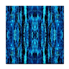 Bright Blue Turquoise  Black Pattern Tile Coasters