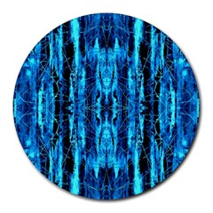 Bright Blue Turquoise  Black Pattern Round Mousepads