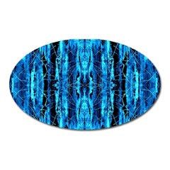 Bright Blue Turquoise  Black Pattern Oval Magnet
