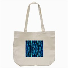 Bright Blue Turquoise  Black Pattern Tote Bag (cream) by Costasonlineshop