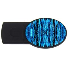 Bright Blue Turquoise  Black Pattern Usb Flash Drive Oval (4 Gb)