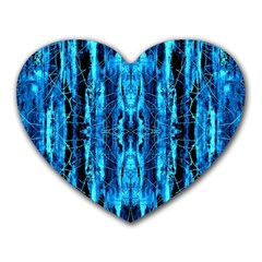 Bright Blue Turquoise  Black Pattern Heart Mousepads
