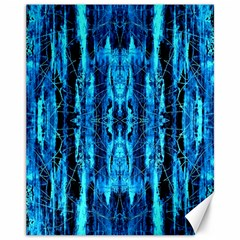 Bright Blue Turquoise  Black Pattern Canvas 11  X 14