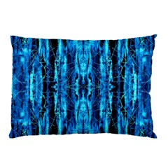 Bright Blue Turquoise  Black Pattern Pillow Case