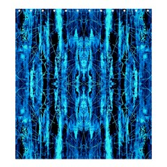 Bright Blue Turquoise  Black Pattern Shower Curtain 66  X 72  (large)  by Costasonlineshop