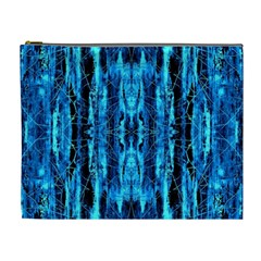 Bright Blue Turquoise  Black Pattern Cosmetic Bag (xl)