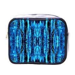 Bright Blue Turquoise  Black Pattern Mini Toiletries Bags by Costasonlineshop