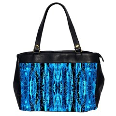 Bright Blue Turquoise  Black Pattern Office Handbags (2 Sides)  by Costasonlineshop