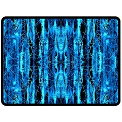 Bright Blue Turquoise  Black Pattern Fleece Blanket (large)
