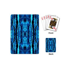 Bright Blue Turquoise  Black Pattern Playing Cards (mini)
