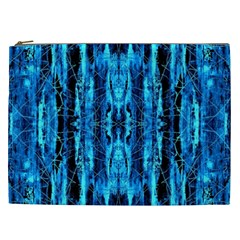 Bright Blue Turquoise  Black Pattern Cosmetic Bag (xxl)  by Costasonlineshop