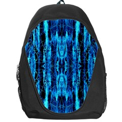 Bright Blue Turquoise  Black Pattern Backpack Bag