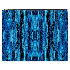 Bright Blue Turquoise  Black Pattern Cosmetic Bag (xxxl)  by Costasonlineshop