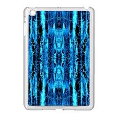 Bright Blue Turquoise  Black Pattern Apple Ipad Mini Case (white) by Costasonlineshop