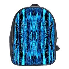 Bright Blue Turquoise  Black Pattern School Bags (xl)