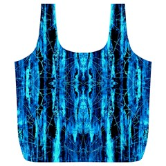 Bright Blue Turquoise  Black Pattern Full Print Recycle Bags (l)