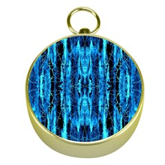 Bright Blue Turquoise  Black Pattern Gold Compasses
