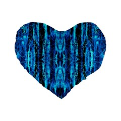 Bright Blue Turquoise  Black Pattern Standard 16  Premium Flano Heart Shape Cushions