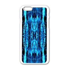 Bright Blue Turquoise  Black Pattern Apple Iphone 6/6s White Enamel Case