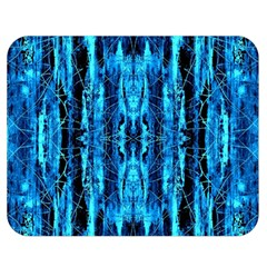 Bright Blue Turquoise  Black Pattern Double Sided Flano Blanket (medium)