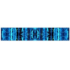 Bright Blue Turquoise  Black Pattern Flano Scarf (large)