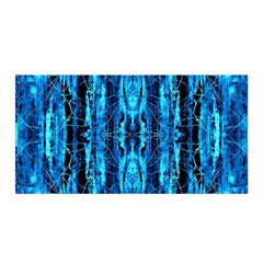Bright Blue Turquoise  Black Pattern Satin Wrap by Costasonlineshop