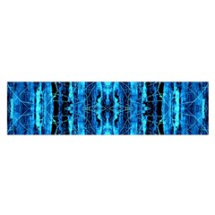 Bright Blue Turquoise  Black Pattern Satin Scarf (oblong)