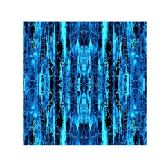 Bright Blue Turquoise  Black Pattern Small Satin Scarf (square)