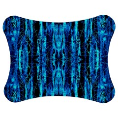 Bright Blue Turquoise  Black Pattern Jigsaw Puzzle Photo Stand (bow)