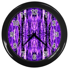 Bright Purple Rose Black Pattern Wall Clocks (black)