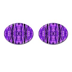 Bright Purple Rose Black Pattern Cufflinks (oval) by Costasonlineshop