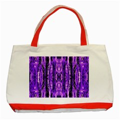 Bright Purple Rose Black Pattern Classic Tote Bag (red) by Costasonlineshop