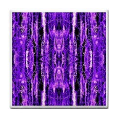 Bright Purple Rose Black Pattern Face Towel