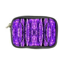 Bright Purple Rose Black Pattern Coin Purse