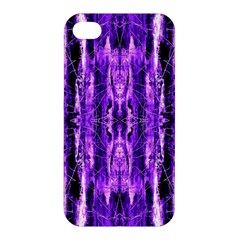 Bright Purple Rose Black Pattern Apple Iphone 4/4s Premium Hardshell Case