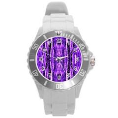 Bright Purple Rose Black Pattern Round Plastic Sport Watch (l)