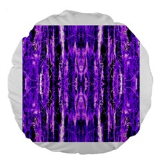 Bright Purple Rose Black Pattern Large 18  Premium Round Cushions by Costasonlineshop